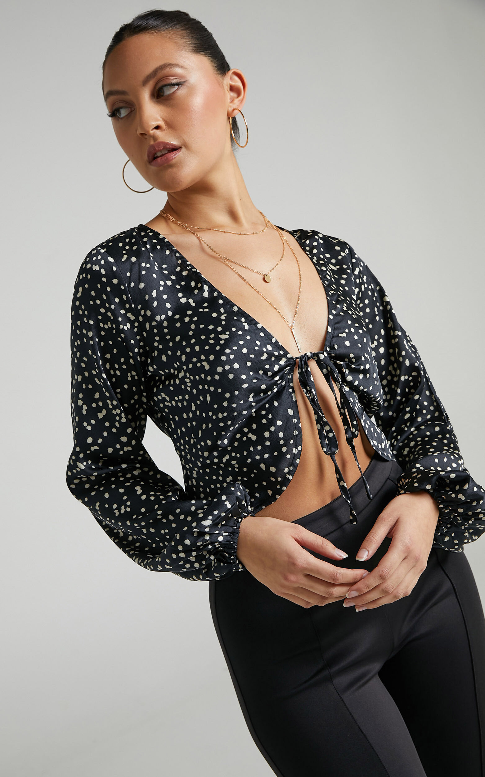 Fingal Balloon Sleeve Tie Front Top in Black Spot - 04, BLK1, super-hi-res image number null