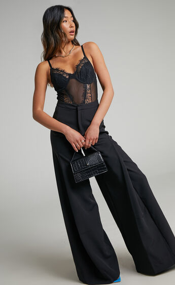Parthena High Waisted Wide Leg Pant in Black