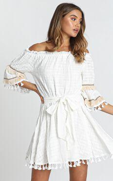 Gianna Trim Detail Bardot Dress In White