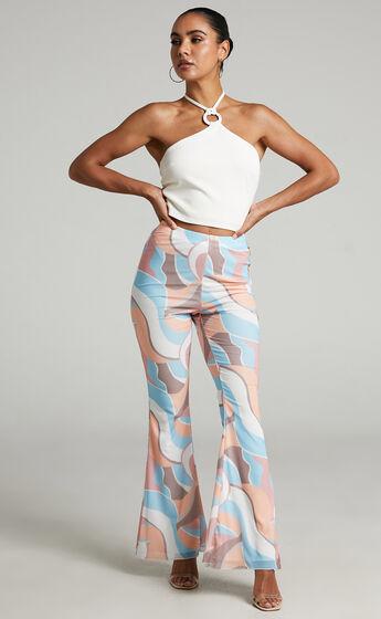 Adalene Mesh Flare Pants in stripe print