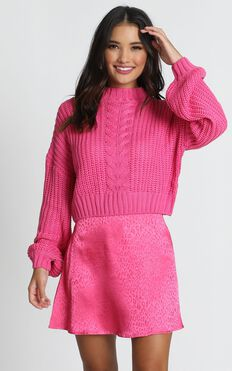 Hug Me Knitted Jumper In Hot Pink
