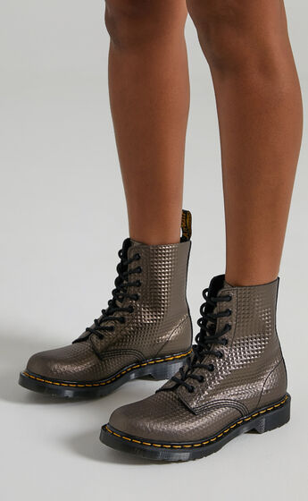 Dr. Martens - 1460 Pascal 8 Eye Boots in Gunmetal Stud Emboss Leather