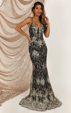 Rule Number One Maxi Dress In Black Glitter