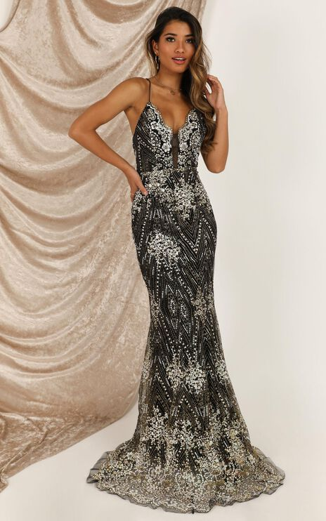 Rule Number One Maxi Dress In Black Glitter