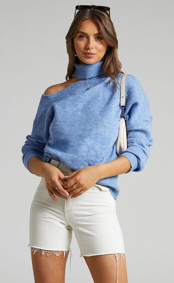Ceila Knit Top with Shoulder Cut Out in Cornflower Blue