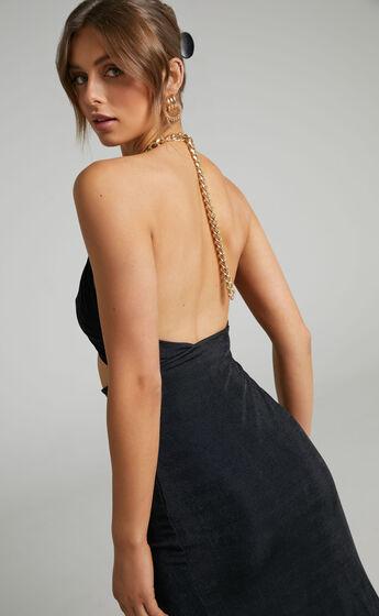 Catrina Halter Chain Neckline Midi Dress in Black