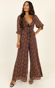 Paradise Falls Jumpsuit In Black Floral