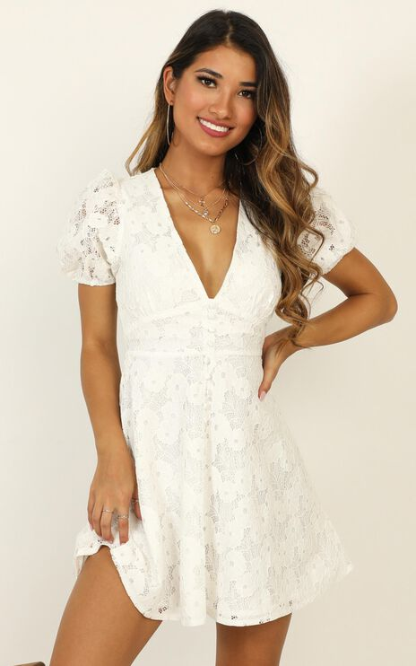 Hey Babe Dress in White Lace