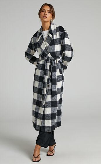 Vancouver Longline Tie Front Coat in Black Check