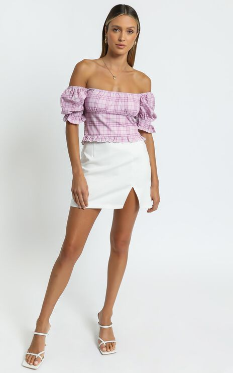 Marianna Top in Pink Check