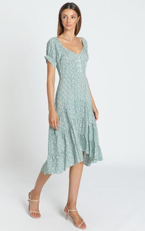 Elspeth Dress in Green Floral