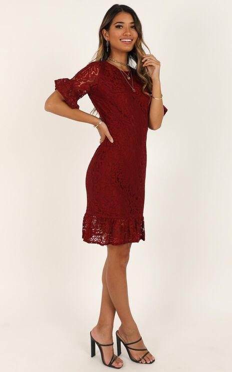 Cant Go Back Dress In Wine Lace