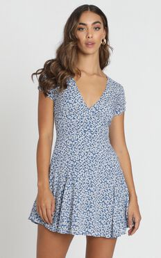 Florida Floral Mini Dress In Navy Floral