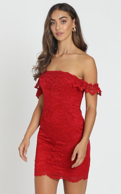 Kylie Mini Dress in red lace - 6 (XS), Red, hi-res image number null