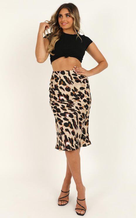 Wild Spirit Midi Skirt In Leopard Print Satin