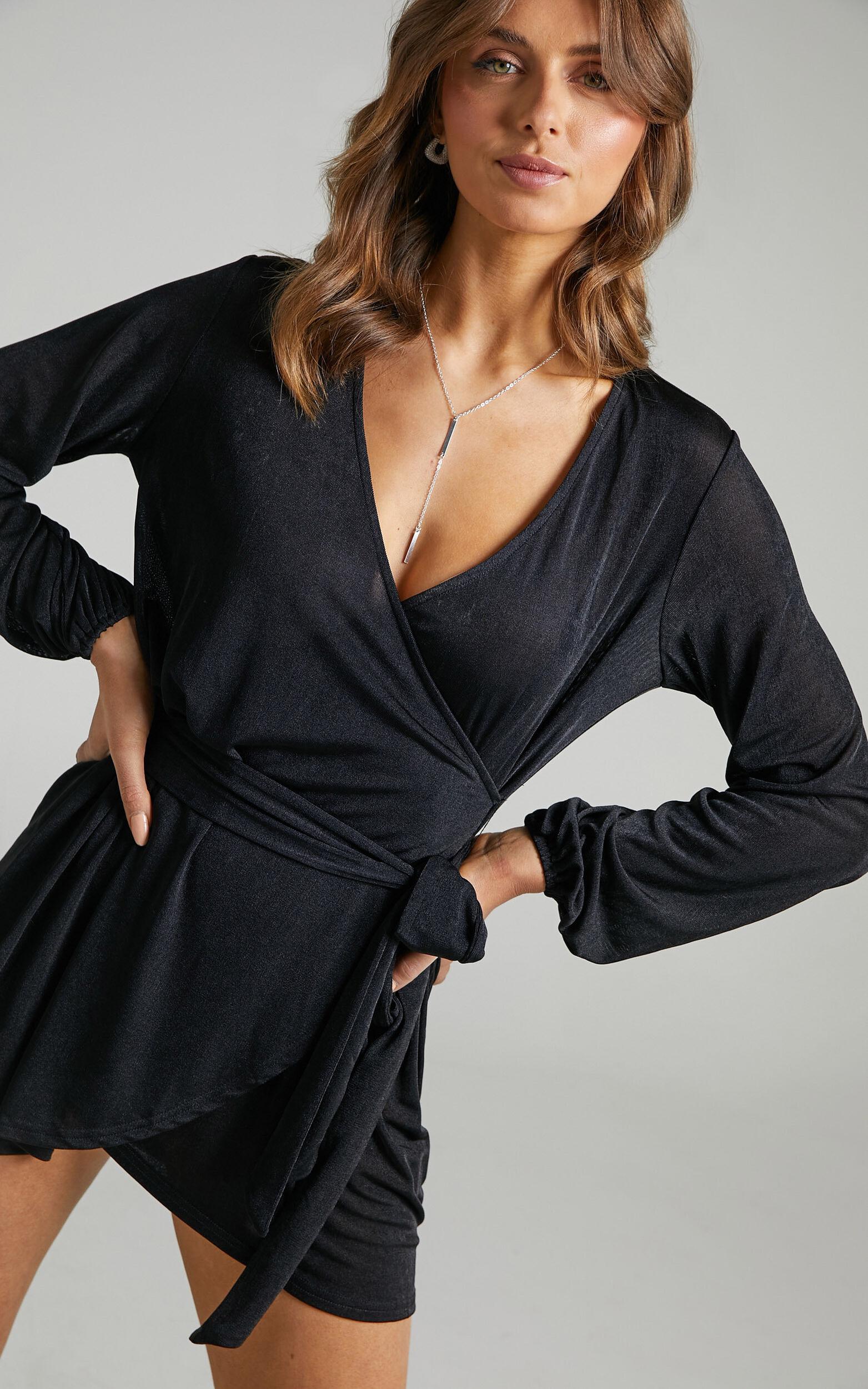 Kayley Wrap Centre Tie Mini Dress in Black - 06, BLK1, super-hi-res image number null
