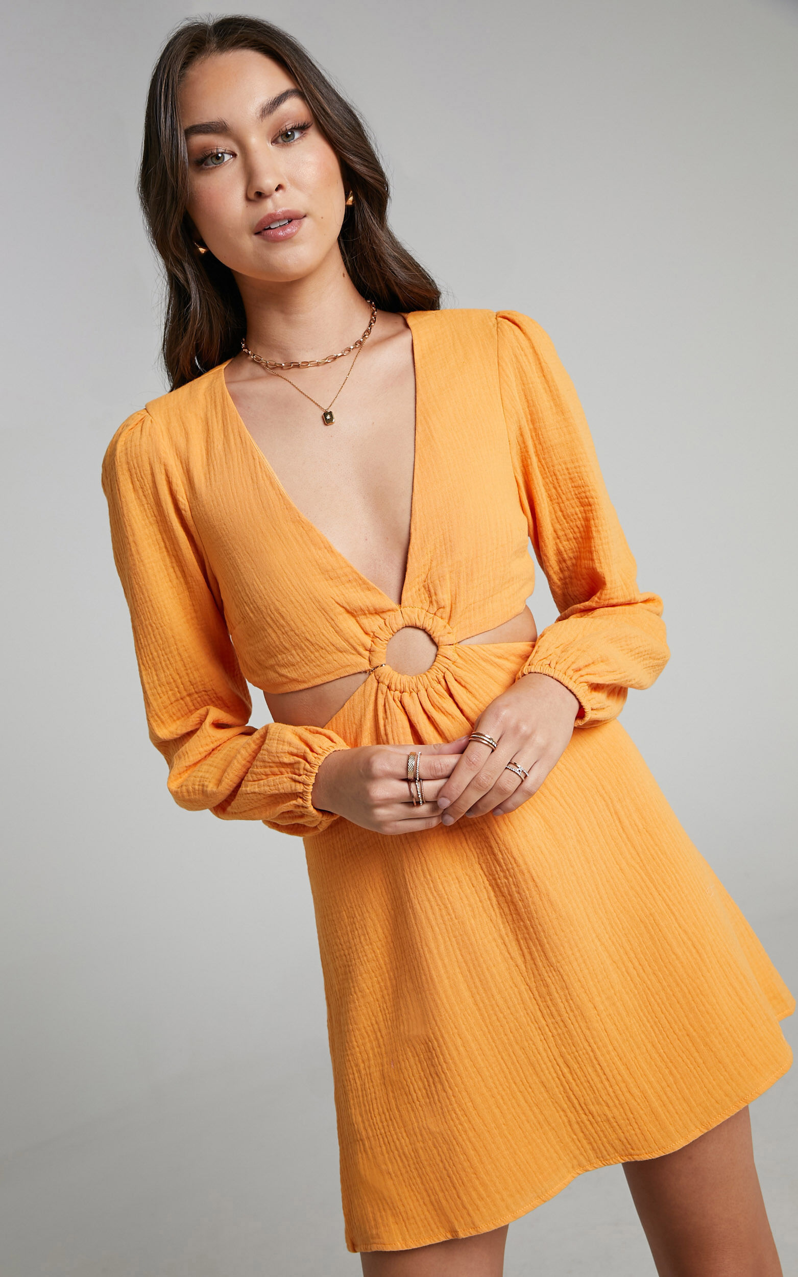 Queeny Side Cutouts Mini Dress in Sherbet - 06, ORG2, super-hi-res image number null