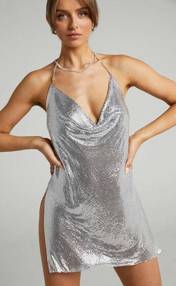 Kaylah Cowl Glowmesh Dress in Silver