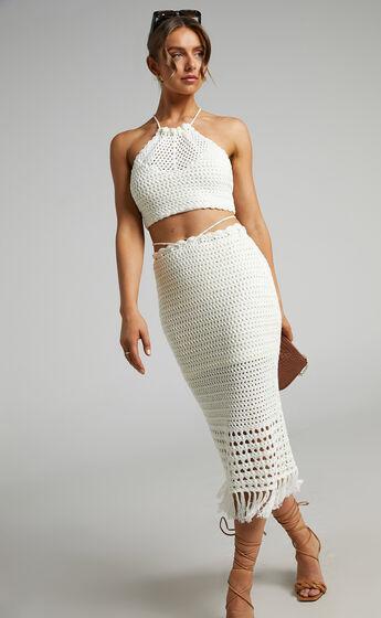 Cappadocia Crochet Midi Skirt in White
