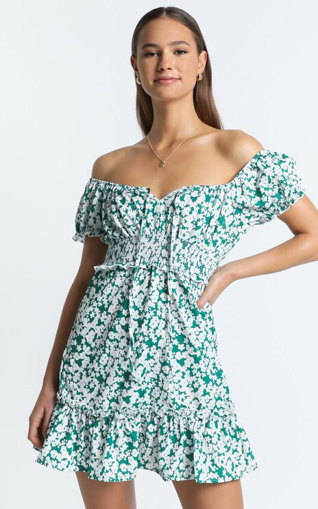 Destiny Dress in Green Floral