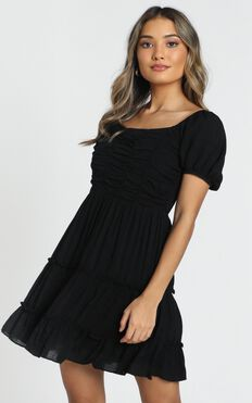 Act Natural Tiered Dress In Black
