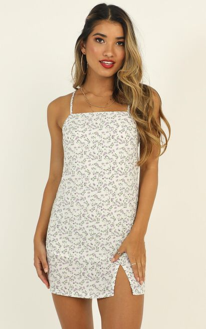 Could Be Us Dress in white floral - 12 (L), White, hi-res image number null