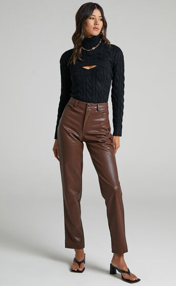 Leillia Cutout Cable Knit Top in Black