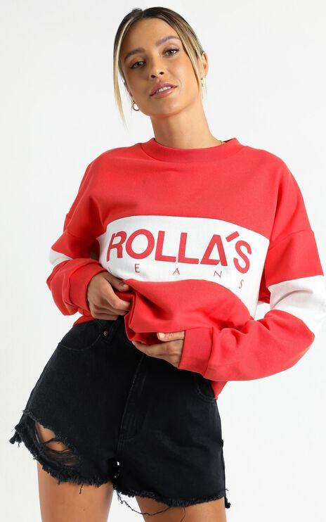 Rollas - Logo Split Sweater in Faded Red