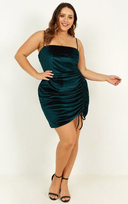 Beyond it dress in teal velvet - 20 (XXXXL), Green, hi-res image number null