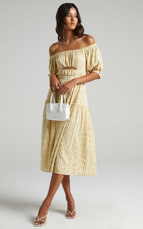 Helina Dress in Mustard Check