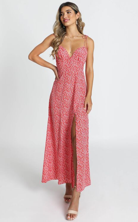 Groove On Dress In Red Floral Print