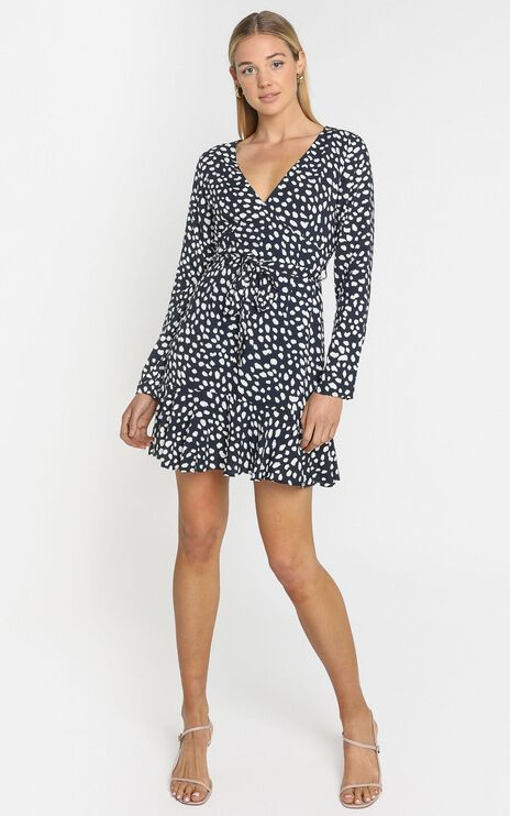 Farah Dress in Navy Spot