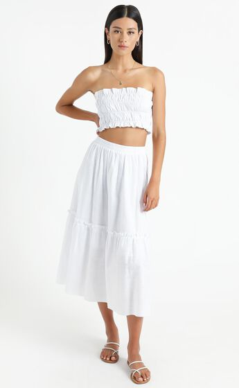 In Their Eyes Two Piece Set in White Linen Look