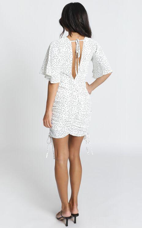 Kelli Ruched Mini Dress In Black Spot