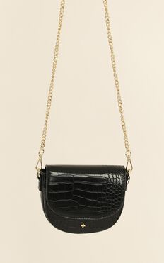 Peta and Jain - Alex Mini Saddle Bag In Black Croc