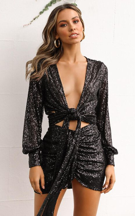 Brighter Side Top In Black Sequin