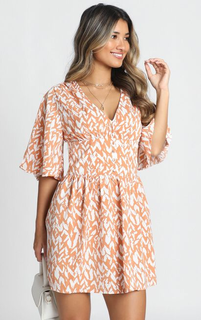 Naya Mini Dress in rust print - 14 (XL), Rust, hi-res image number null