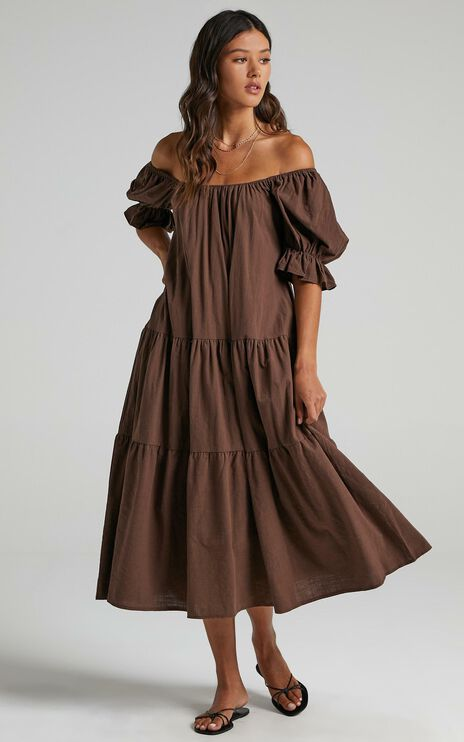 Zaharrah Dress in Chocolate Linen Look