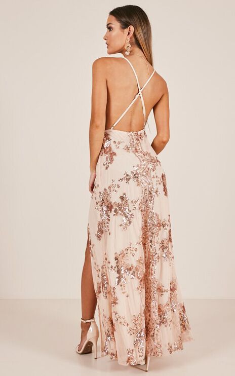 Golden State Maxi Dress In Rose Gold Sequin