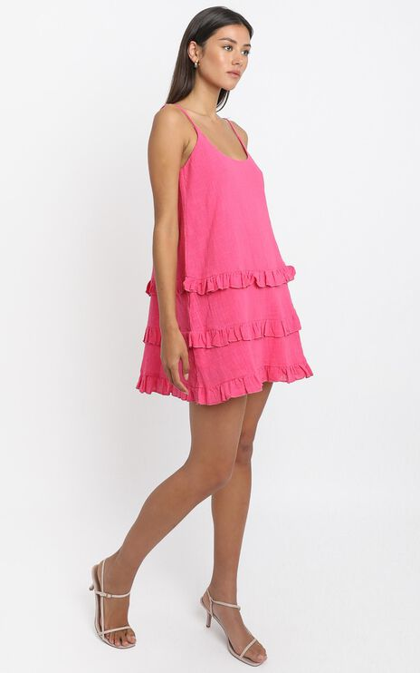 Long Reflections Dress in hot pink