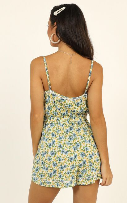 Sweet Summertime Playsuit in green floral - 12 (L), Green, hi-res image number null