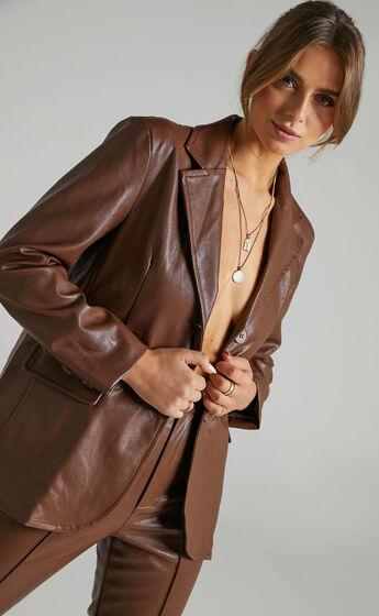 SNDYS - Lennox PU Jacket in Chocolate