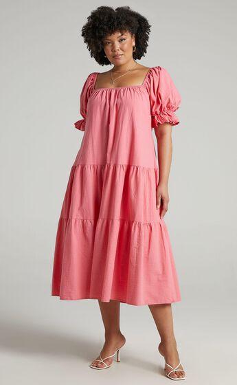Zaharrah Tiered Midi Dress in Coral Linen Look