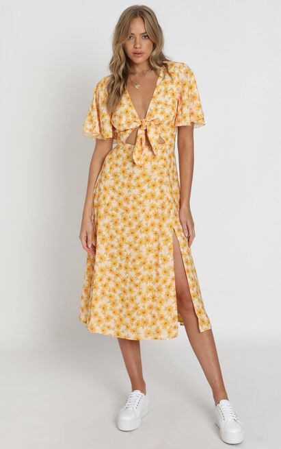 Wild and Free Mind Dress in sunflower print - 20 (XXXXL), Yellow, hi-res image number null
