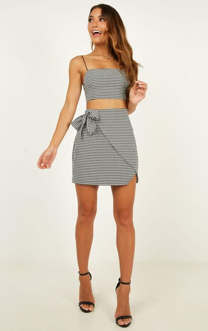 Keep On Turning Two Piece Set In Black Gingham  - 4 (XXS), Black, hi-res image number null