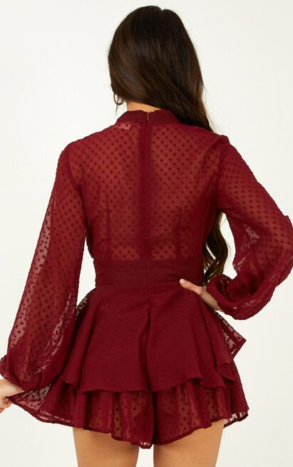Bottom Of Your Heart Playsuit In Wine - 4 (XXS), Wine, hi-res image number null