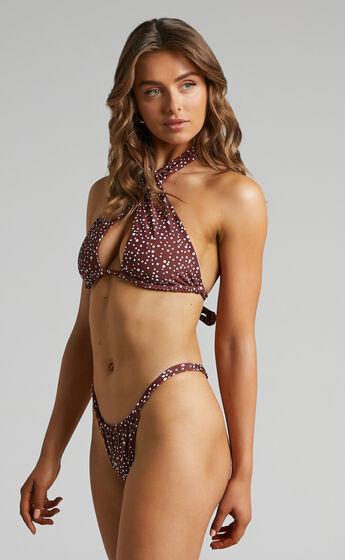 Mahana Thin Strap Bikini Bottoms in Chocolate Spot