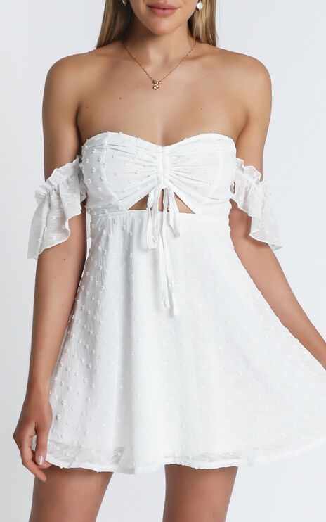 Take Flight Dress In White Dot