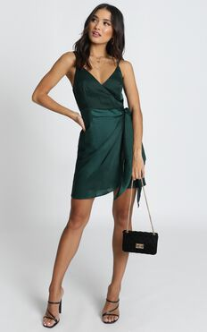Elodie Wrap Mini Dress In Emerald Satin