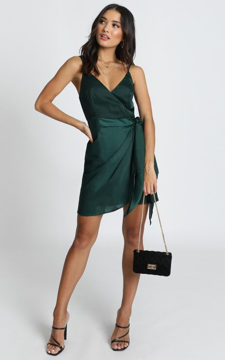 Elodie Wrap Mini Dress In Emerald Satin